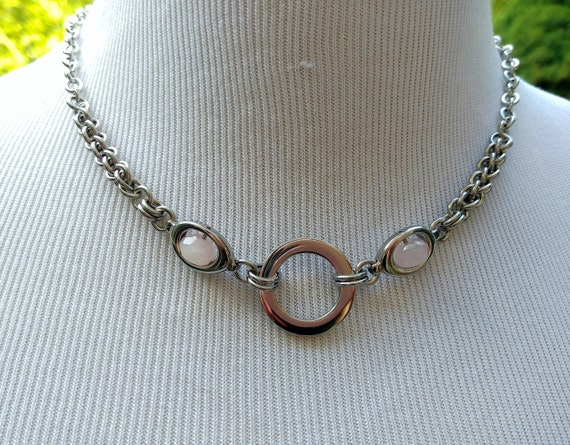 24/7 Wear Discreet Symbolic O Ring Day Collar Necklace, BDSM Submissive Slave Collar, Stainless Steel Chain/Maille Collar Rose Quartz Beads