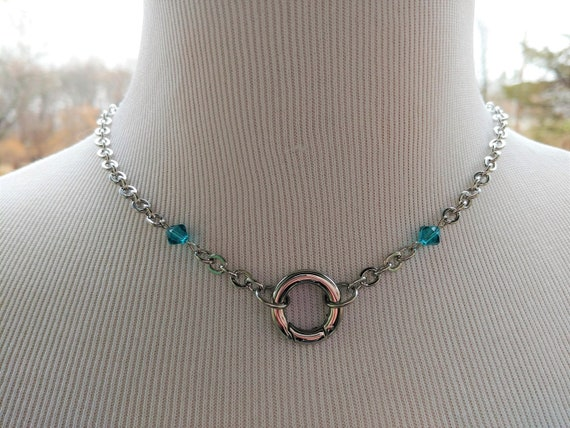 Discreet Symbolic O Ring Day Collar Necklace With Swarovski Crystals 9 Colors Available, BDSM Submissive Jewelry, DDLG, Non Locking O Clasp