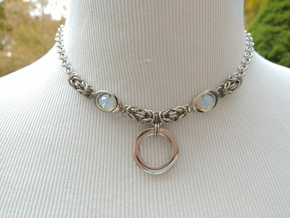 24/7 Wear Discreet Symbolic O Ring Day Collar Necklace, BDSM Submissive Slave Collar, Stainless Steel Collar with Milk Glass Bead