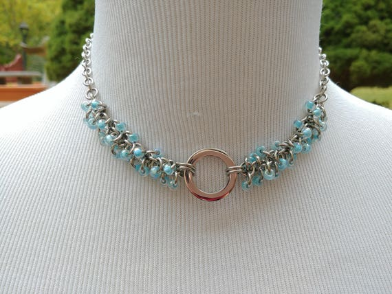 24/7 Wear Discreet Symbolic O Ring Day Collar Necklace, Submissive Slave Collar, DDLG, Stainless Steel with Baby Blue Beaded Shaggy Loops