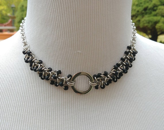 24/7 Wear Discreet Symbolic O Ring Day Collar Necklace, Submissive Slave Collar, DDLG, Stainless Steel with Matte Black Beaded Shaggy Loops