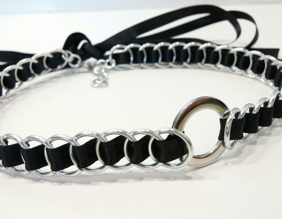Ribbon Maille Discreet BDSM Day Collar Choker, Submissive O Ring Collar, Many Colors Available