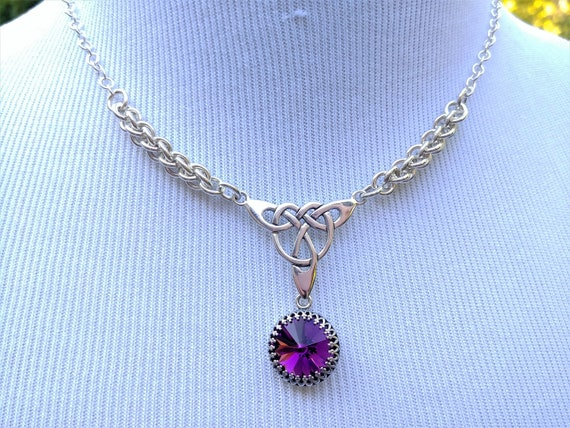 925 Sterling Silver Discreet Day Collar Necklace with Celtic Pendant and Personalized Swarovski Birthstone Crystal, BDSM Jewelry, DDLG