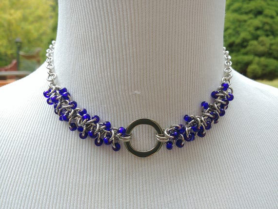 24/7 Wear Discreet Symbolic O Ring Day Collar Necklace, Submissive Slave Collar, DDLG, Stainless Steel with Purple Beaded Shaggy Loops