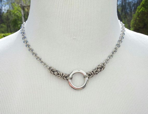 24/7 Wear Discreet Symbolic O Ring Day Collar Necklace, BDSM Submissive Slave Collar, DDLG, Stainless Steel Chain/Maille Collar