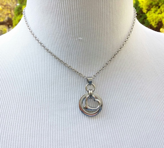 24/7 Wear Discreet Symbolic O Ring and Heart Day Collar Necklace, BDSM Submissive Collar, DDLG, Petite Stainless Steel Cable Chain