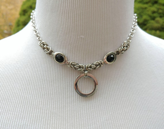 24/7 Wear Discreet Symbolic O Ring Day Collar Necklace, BDSM Submissive Slave Collar, Stainless Steel Chain/Maille Collar with Black Bead