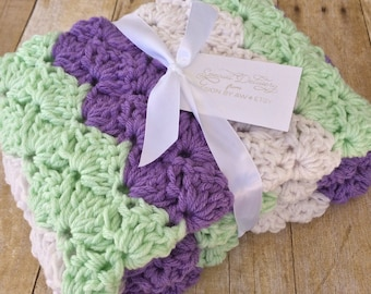 Crochet Baby Blanket - Baby Blanket Crochet - Lavender Lilac Nursery - Baby Girl Afghan - Crochet Afghan - Crochet Blanket - Purple and Mint