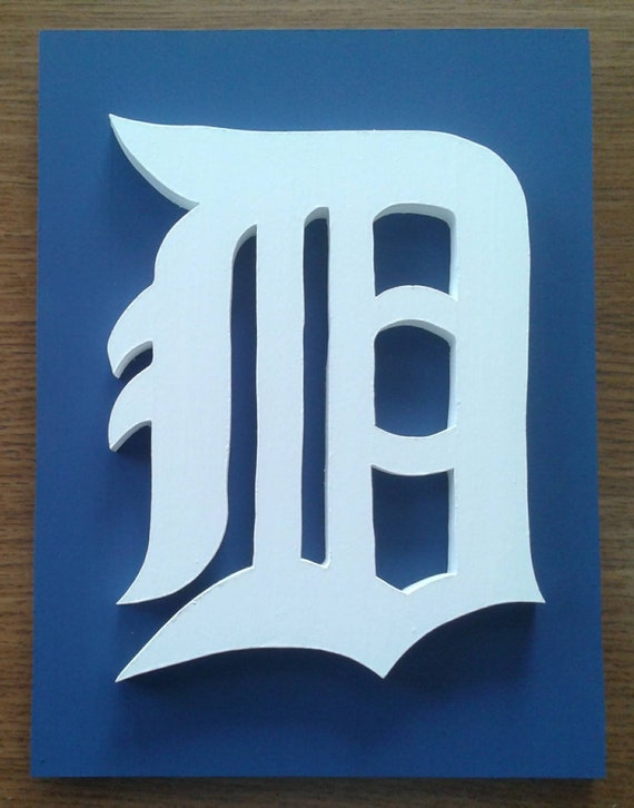 detroit tigers white old english d on blue background 3d etsy