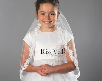Communion Veil with Lace, First Communion Veil, Baptism Veil, Confirmation Veil - Fast Shipping!