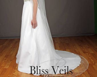 Rhinestone Veil, Beaded Veil, Chapel Wedding Veil, Ivory Veil, White Veil, Wedding Veil with Crystals, ANY length, Fast Shipping!