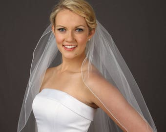 Fingertip Wedding Veil - Soft Wedding Veil - One Layer Veil - White Fingertip Veil - Available in 10 Sizes and 11 Colors - Fast Shipping!