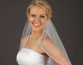 Pearl Beaded Simple Wedding Veil -  Available in several lengths and colors!  Fast Shipping!