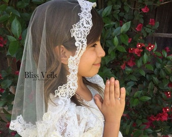 First Communion Mantilla - Several Lengths & Colors!  Fast Shipping!