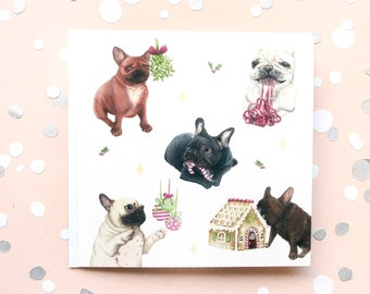 french bulldog christmas funny card xmas greeting cards hand painted illustrations christmas brindle frenchie mistletoe dog humorous card - Dog Greeting Cards