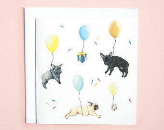 French Bulldog Party Card Frenchie Birthday Dog Celebration Funny Illustration Greetings Pug Love Lover
