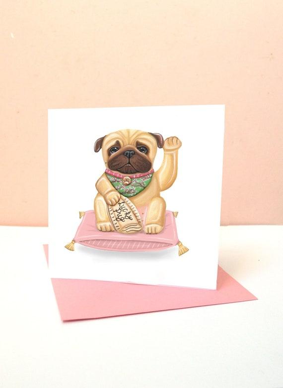 Encouraging Card Wishing Luck Kawaii Maneki Neko New Job Good Luck Pug Card Lucky Pug Blank Greetings Card Japanese Lucky Waving Cat Dog