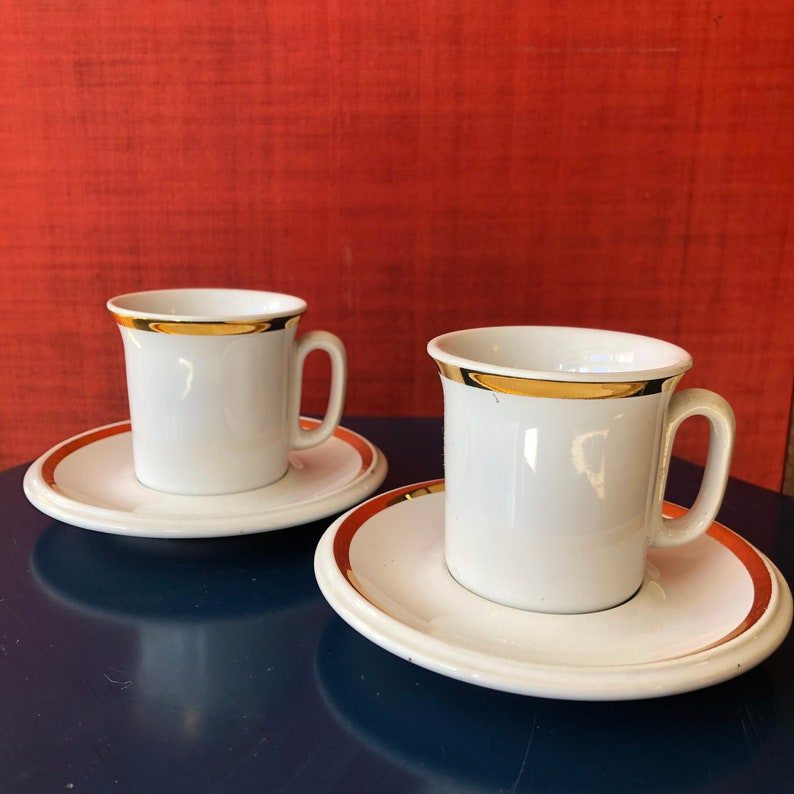 455d26f7b Set of 2 Vintage ACF Italian White Coffee Espresso Cups