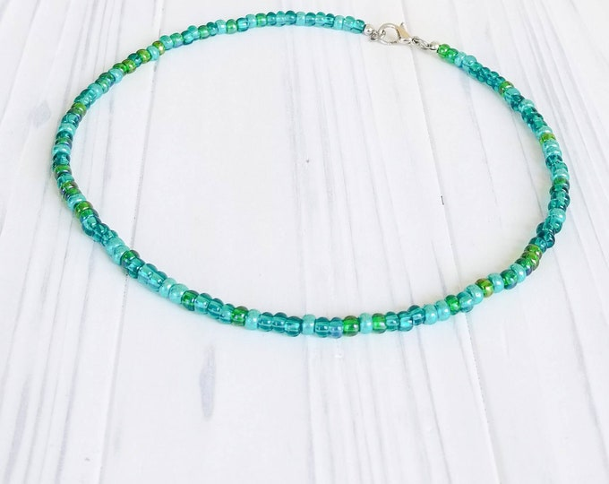 Ocean choker, beach jewelry,  womens necklace, womens choker, seed bead necklace,  beaded choker necklace, tiny choker