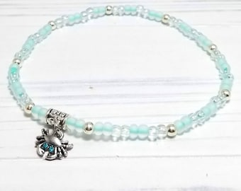 Crab Anklet, Beach Anklet for Women, Beach Jewelry, Barefoot Jewelry, Ocean Jewelry, Beaded Anklet, Stretch Anklet, Stretch Ankle Bracelet