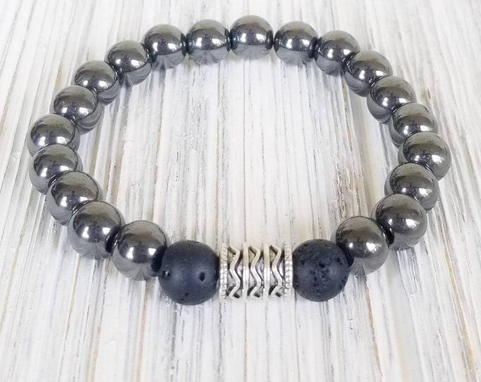 Essential Oil Diffuser Bracelets for Women, Lava Bead Bracelet, Unisex Bracelet, Hematite Bracelet, Hematite Aromatherapy Bracelet
