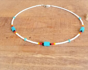 Turquoise Beaded Native Necklace or Choker for Girls.