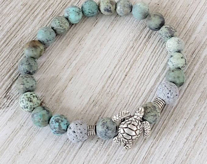 Essential Oil Diffuser Bracelets for Women, Lava Bead Bracelet, Sea Turtle Bracelet, Turquoise Bracelet, African Turquoise Bracelet