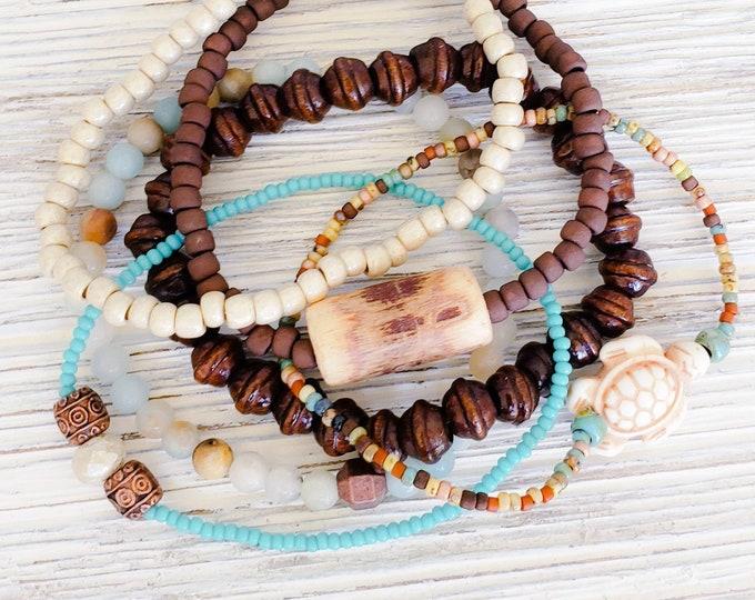 Hippie Chic Stack Bracelets for Women, Earthy Jewelry, Boho Style Jewelry, Bohemian Bracelets, Sea Turtle Jewelry, American Jewelry