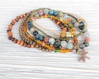 Hippie Chic Stack Bracelets for Women, Set of 6, Dragonfly Jewelry, Boho Style Jewelry, Bohemian Bracelets, Dragonfly Bracelets