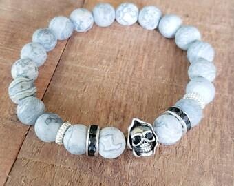 Grimm Reaper Bracelets for Men, Jasper Bead Bracelet, Unisex Bracelet, Skull Bracelet, Mens Bracelet, Goth Bracelet, Rock and Roll Jewelry