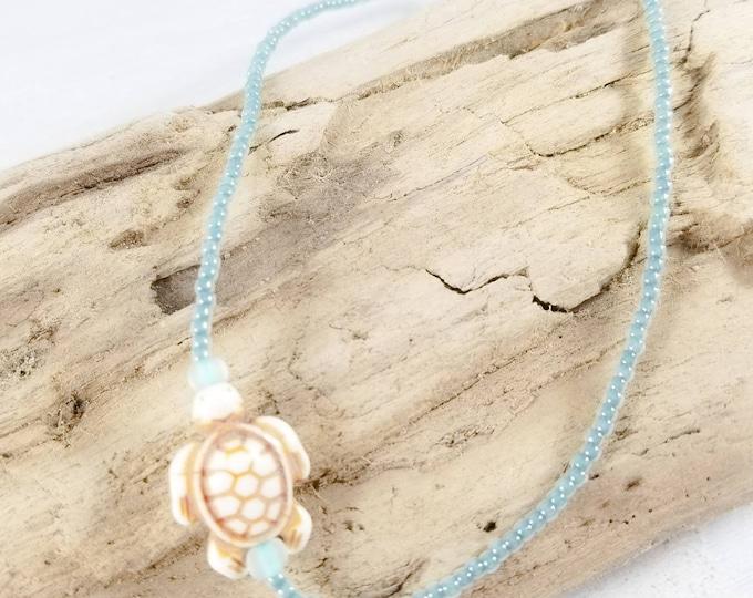 White Sea Turtle Ankle Bracelet, Seed Bead Anklet for Women, Beach Anklet, Summer Ankle Bracelet,  Ocean Anklet, Beaded Ankle Bracelet