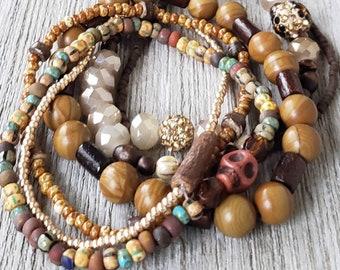 Hippie Chic Stack Bracelets for Women, Earthy Jewelry, Boho Style Jewelry, Bohemian Bracelets, Skull Jewelry, American Jewelry