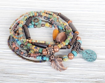 Hippie Chic Stack Bracelets for Women, Earthy Jewelry, Boho Style Jewelry, Bohemian Bracelets, Tree of Life Jewelry, American Jewelry