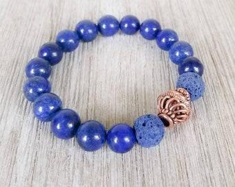 Essential Oil Diffuser Bracelets for Women, Lava Bead Bracelet, Gemstone Bracelet, Lapis Lazuli Bracelet, Lapis Lazuli Aromatherapy Bracelet