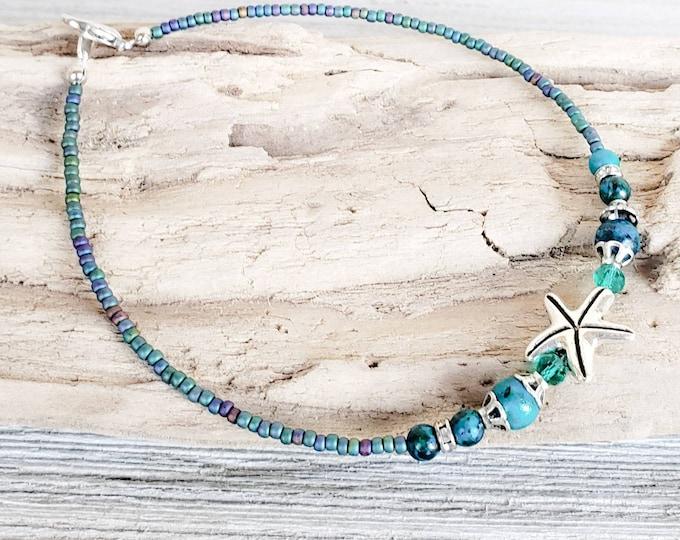 Starfish Beach Anklet for Women, Summer Gemstone Ankle Bracelet, Ocean Jewelry for Girls, Gift for Her