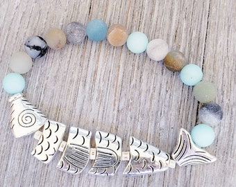 Ocean gemstone bracelets for women with natural Amazonite beads.