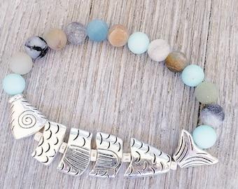 Ocean Bracelets for Women, Gemstone Bracelet, Beach Bracelet, Amazonite Bracelet, Fish Bracelet
