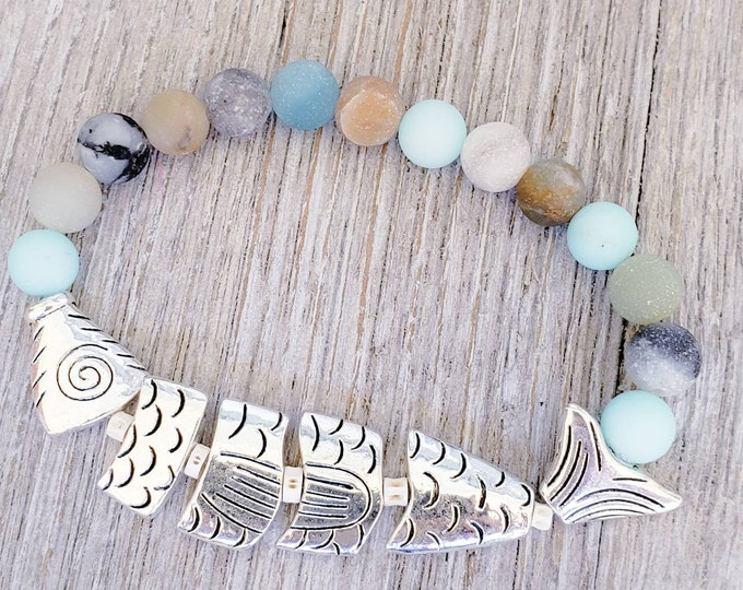 Ocean Bracelets for Women, Gemstone Bracelet, Beach Bracelet, Amazonite Bracelet, Fish Bracelet