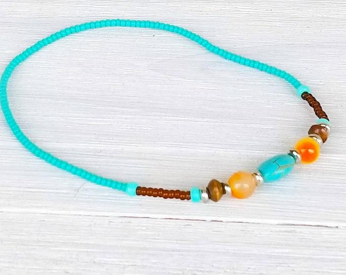 Hippie Style Ankle Bracelet for Women, Beach Anklet for Women, Summer Anklet,  Aqua Blue Anklet, Boho Style Jewelry, Barefoot Jewelry