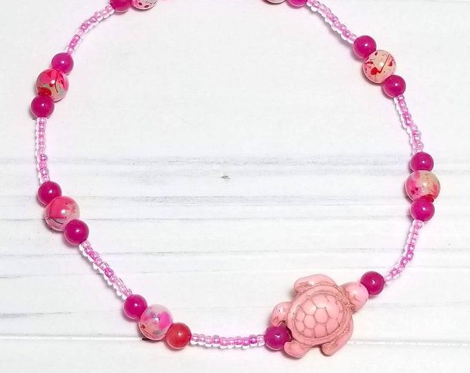 Pink Sea Turtle Ankle Bracelet, Seed Bead Anklet, Beach Anklet, Summer Anklet, Ocean Anklet, Beaded Anklet for Women, Sea Turtle Anklet