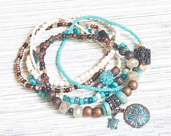 Beach Stack Bracelets for Women, Beach Jewelry, Beach Charm Bracelets, Boho Style Jewelry, Boho Bracelet, Seed Bead Bracelets, wabi sabi