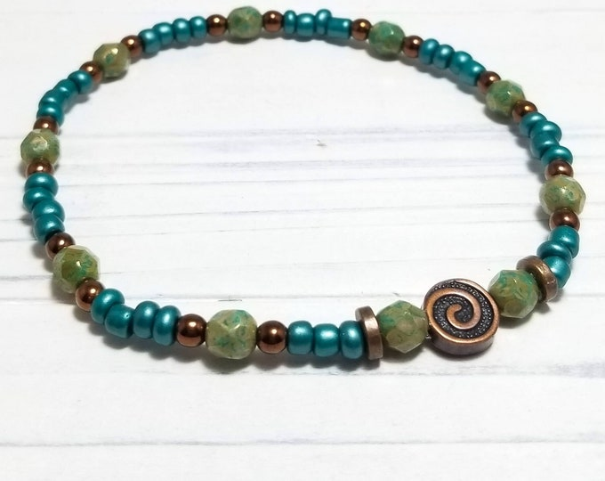 Teal and Copper Ankle Bracelet for Women, Beach Anklet for Women, Boho Anklet, Copper Anklet, Summer Anklet, Beach Vacation, wabi sabi