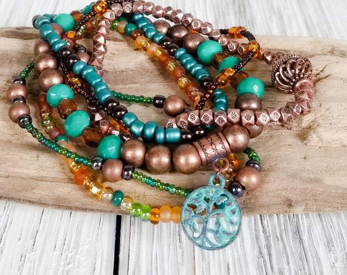 Teal and Copper Bracelets for women, Boho Style Jewelry, Tree of Life Bracelet, Layer Bracelet, Boho Chic Bracelet, Multi Strand Bracelet