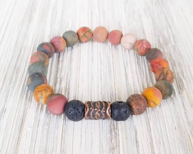 Essential Oil Diffuser Bracelets for Women, Lava Bead Bracelet, Unisex Bracelet, Jasper Bracelet, Jasper Aromatherapy Bracelet