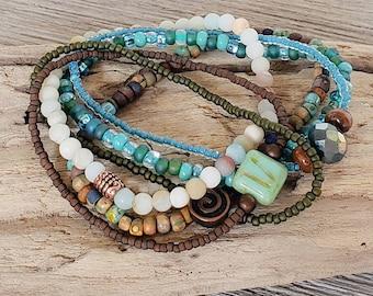 Hippie Chic Stack Bracelets for Women, Earthy Jewelry, Boho Style Jewelry, Bohemian Bracelets, Beach Jewelry, Beach Bracelets
