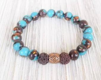 Essential Oil Diffuser Bracelets for Women, Lava Bead Bracelet, Gemstone Bracelet, Jasper Bracelet, Jasper Aromatherapy Bracelet