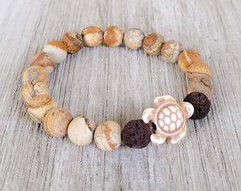Essential Oil Diffuser Bracelets for Women, Lava Bead Bracelet, Sea Turtle Bracelet, Jasper Bracelet, Jasper Aromatherapy Bracelet