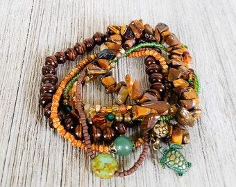 Sea Turtle Stack Bracelets for Women, Beach Jewelry, Beach Bracelets, Boho Style Jewelry, Boho Bracelet, Seed Bead Bracelets