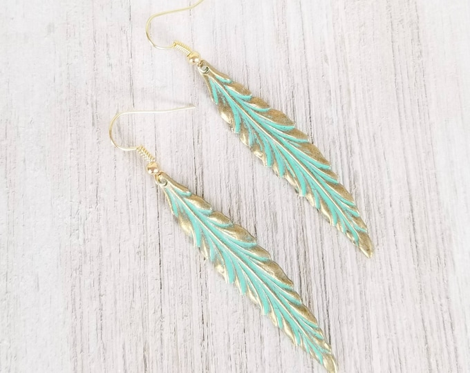Boho Feather Earrings, Drop Earrings for women, Feather long earrings, Patina Dangle Earrings, Boho Style earrings