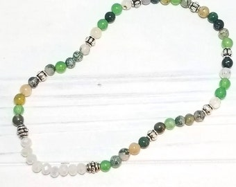 Mala Yoga Anklet with 4mm Indian Agate Gemstone Beads.
